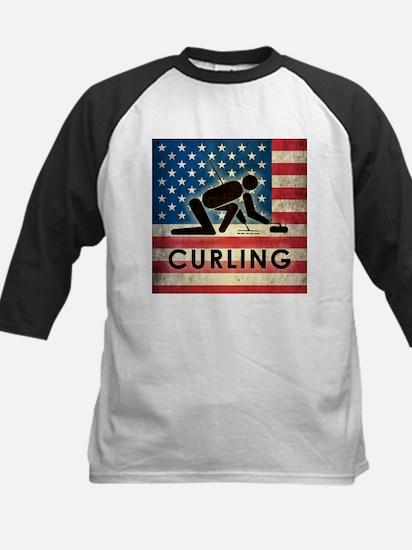 Grunge USA Curling Kids Baseball Jersey