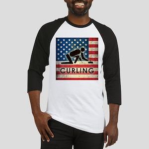 Grunge USA Curling Baseball Jersey