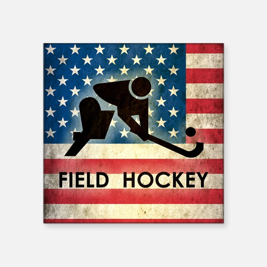 "Grunge USA Field Hockey Square Sticker 3"" x 3"""