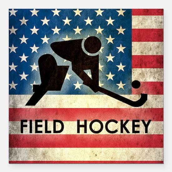 "Grunge USA Field Hockey Square Car Magnet 3"" x 3"""