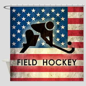 Grunge USA Field Hockey Shower Curtain