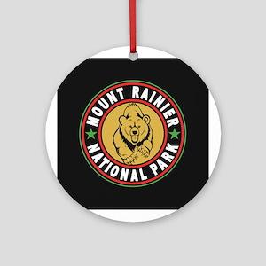 Mt Rainier Black Circle Ornament (Round)