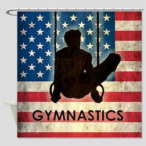 Grunge USA Gymnastics Shower Curtain