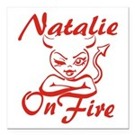Natalie On Fire Square Car Magnet 3
