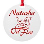 Natasha On Fire Round Ornament