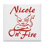 Nicole On Fire Tile Coaster