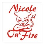 Nicole On Fire Square Car Magnet 3