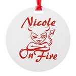 Nicole On Fire Round Ornament