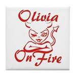 Olivia On Fire Tile Coaster