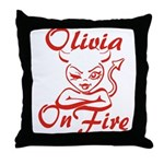 Olivia On Fire Throw Pillow