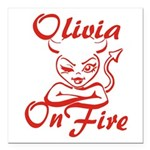 Olivia On Fire Square Car Magnet 3