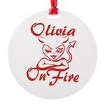 Olivia On Fire Round Ornament