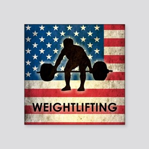 "Grunge USA Weightlifting Square Sticker 3"" x 3"""