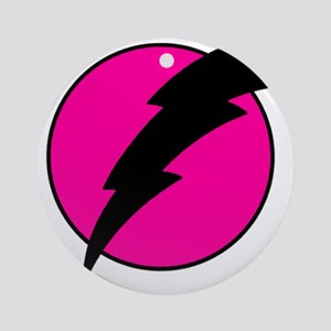 Flash Bolt Pink Lightning Ornament (Round)