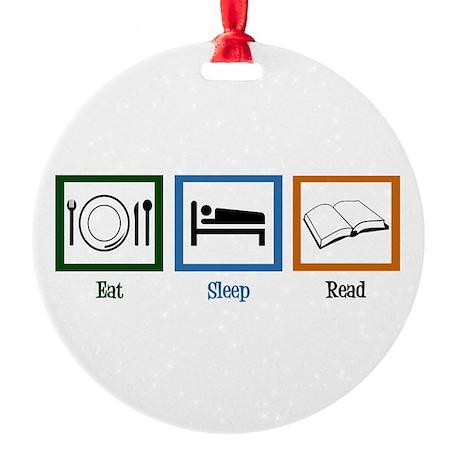 Eat Sleep Read Round Ornament