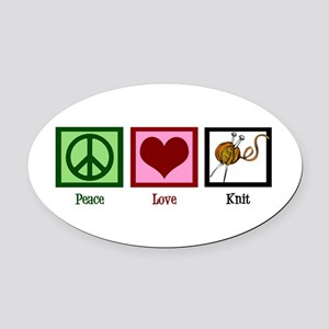 Peace Love Knit Oval Car Magnet