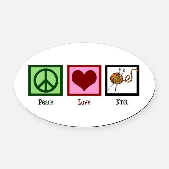 Peace Love Knit Oval Car Magnet
