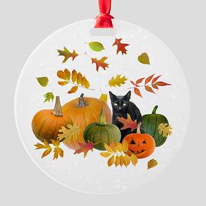 Black Cat Pumpkins Round Ornament