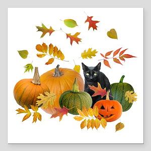 """Black Cat Pumpkins Square Car Magnet 3"""" x 3"""""""