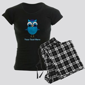Personalized Blue Owl Women's Dark Pajamas