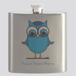 Personalized Blue Owl Flask