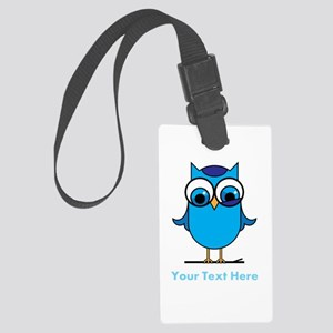 Personalized Blue Owl Large Luggage Tag