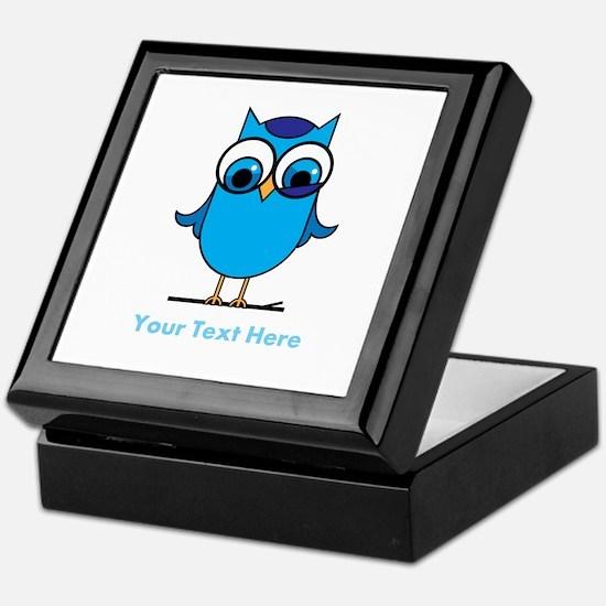Personalized Blue Owl Keepsake Box