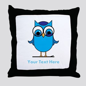 Personalized Blue Owl Throw Pillow