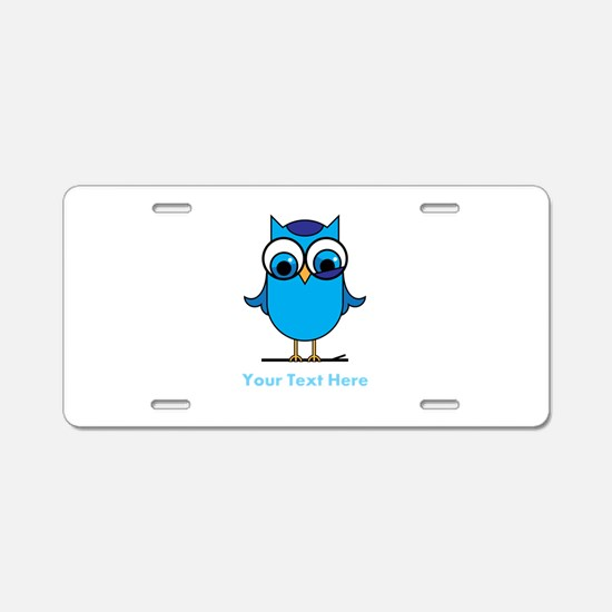 Personalized Blue Owl Aluminum License Plate