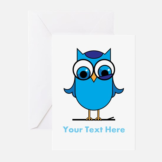 Personalized Blue Owl Greeting Cards (Pk of 10)