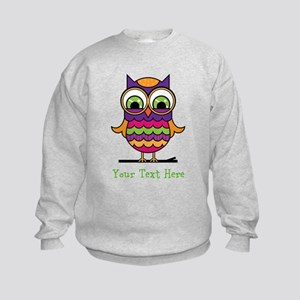 Customizable Whimsical Owl Kids Sweatshirt