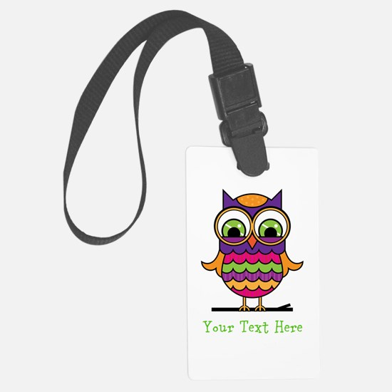 Customizable Whimsical Owl Large Luggage Tag
