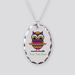 Customizable Whimsical Owl Necklace Oval Charm