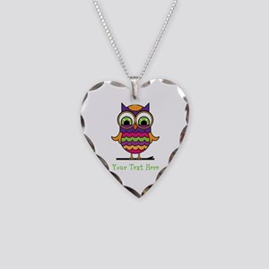 Customizable Whimsical Owl Necklace Heart Charm