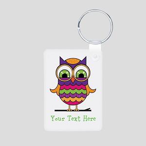 Customizable Whimsical Owl Aluminum Photo Keychain