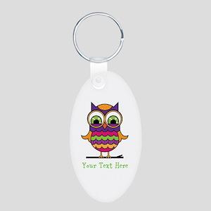 Customizable Whimsical Owl Aluminum Oval Keychain
