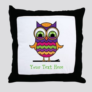 Customizable Whimsical Owl Throw Pillow