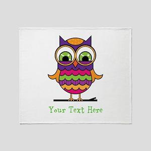 Customizable Whimsical Owl Throw Blanket