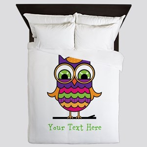 Customizable Whimsical Owl Queen Duvet