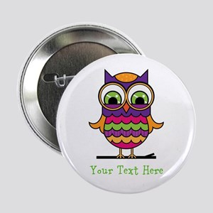 "Customizable Whimsical Owl 2.25"" Button"