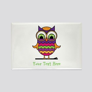 Customizable Whimsical Owl Rectangle Magnet