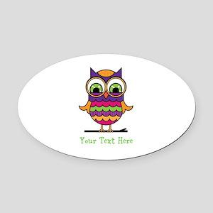 Customizable Whimsical Owl Oval Car Magnet