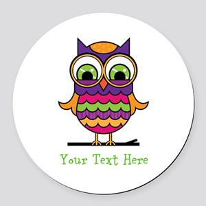 Customizable Whimsical Owl Round Car Magnet