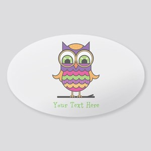 Customizable Whimsical Owl Sticker (Oval)