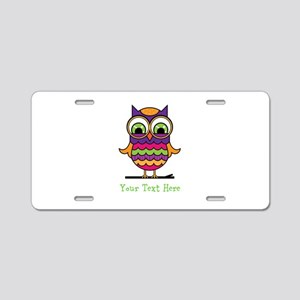 Customizable Whimsical Owl Aluminum License Plate