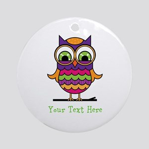 Customizable Whimsical Owl Ornament (Round)