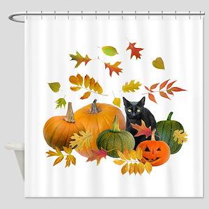 Black Cat Pumpkins Shower Curtain