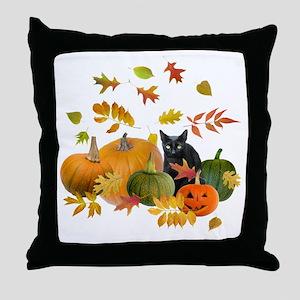 Black Cat Pumpkins Throw Pillow