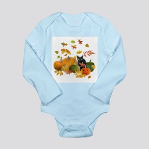 Black Cat Pumpkins Long Sleeve Infant Bodysuit