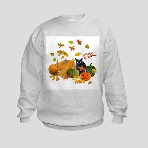 Black Cat Pumpkins Kids Sweatshirt